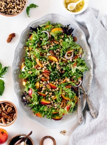 Black Eyed Pea Salad with Peaches and Pecans I foolproofliving.com