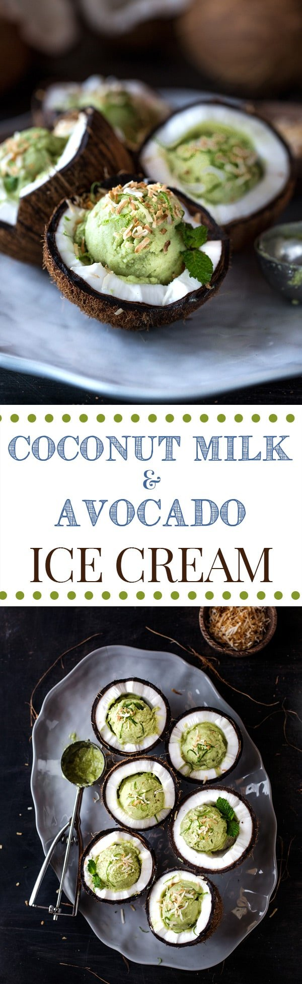 Coconut Milk and Avocado Ice Cream: A Vegetarian ice cream recipe made with coconut milk and avocados.  Two photos on top of each other.