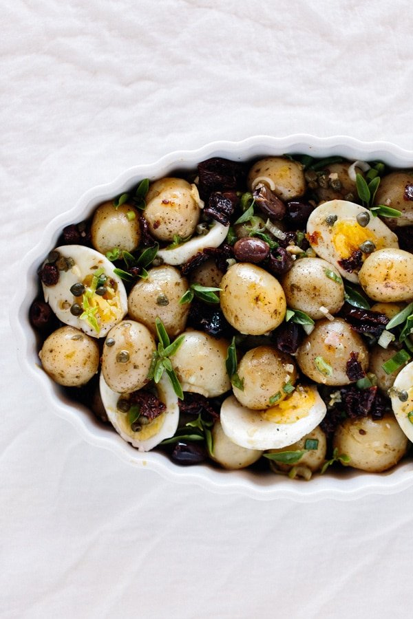 Baby Potatoes with Sun Dried Tomatoes and Caper Dressing