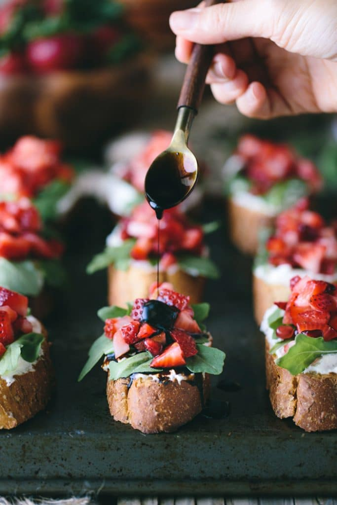 Strawberry-Ricotta Bruschetta with Homemade Balsamic Reduction