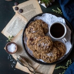 Chocolate Chip Cookies in a tray with coffee and sea salt