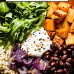 Sweet potato quinoa bowl close up with text on the image