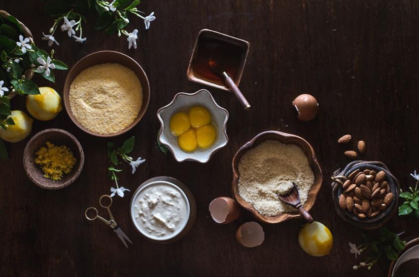 Ingredients for almond polenta cake