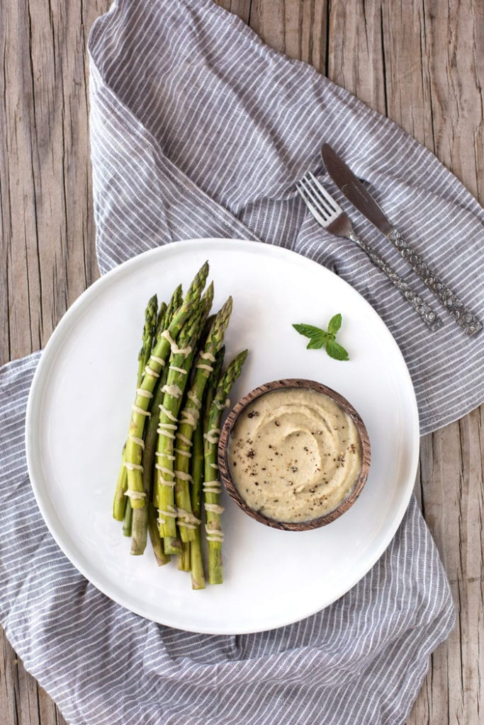 Steamed Asparagus with White Bean and Artichoke Aioli
