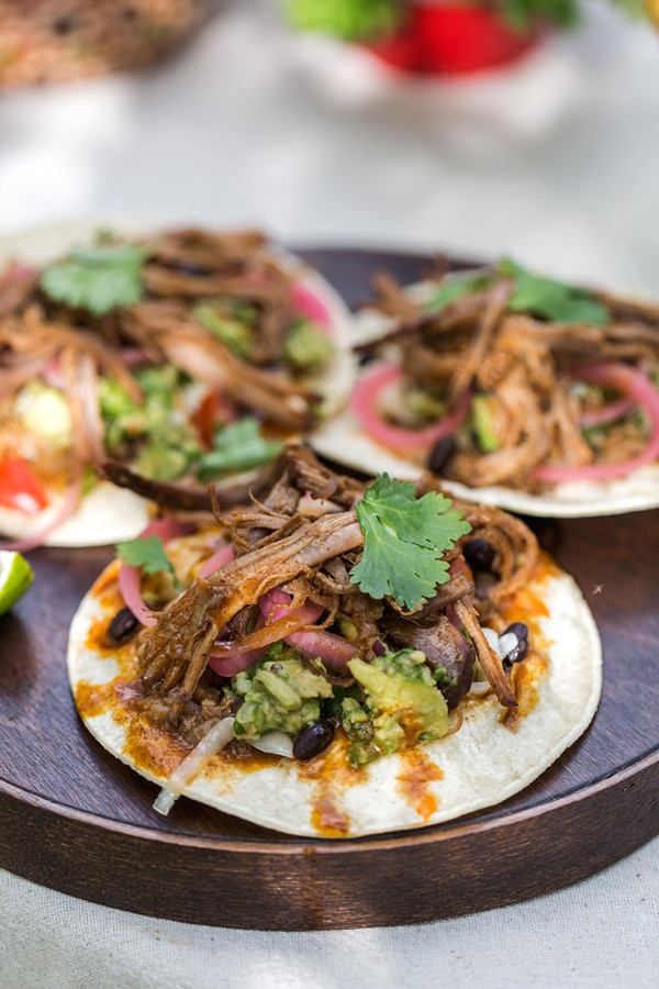 A photo of brisket tacos