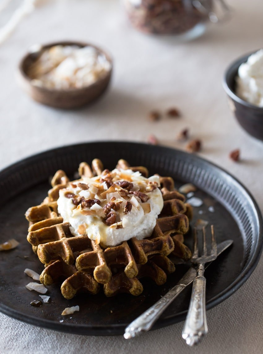 Spicy Pumpkin Waffles with Coconut Whipped Cream - FoolproofLiving
