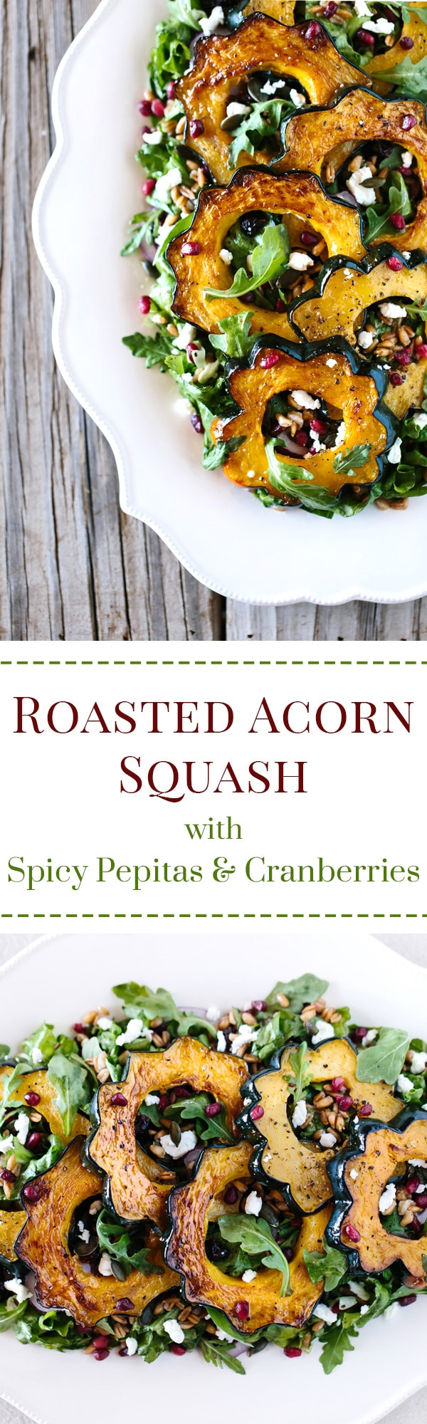 Roasted Acorn Squash Salad with Pepitas + Cranberries: A delicious and easy to make fall salad made with roasted acorn, spicy pepitas, goat cheese and cranberries.
