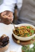 Near and Far's Harira : Traditional Moroccan soup made with lentils, chickpeas, celery, tomatoes, and spices
