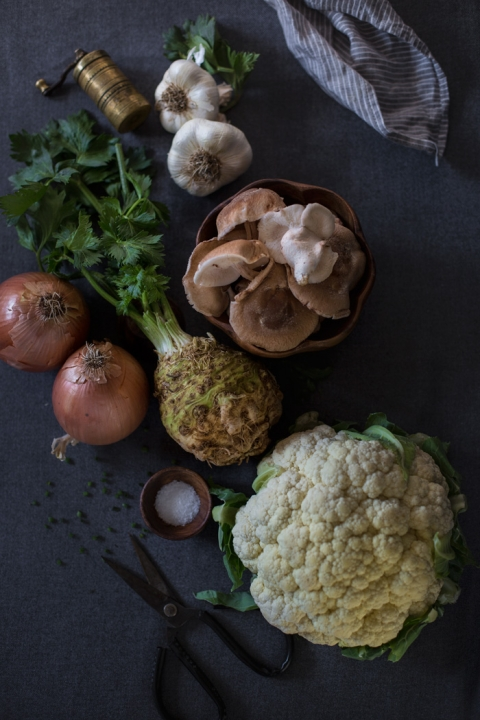 ... Creamy Cauliflower and Celery Root Soup with Roasted Shiitakes recipe