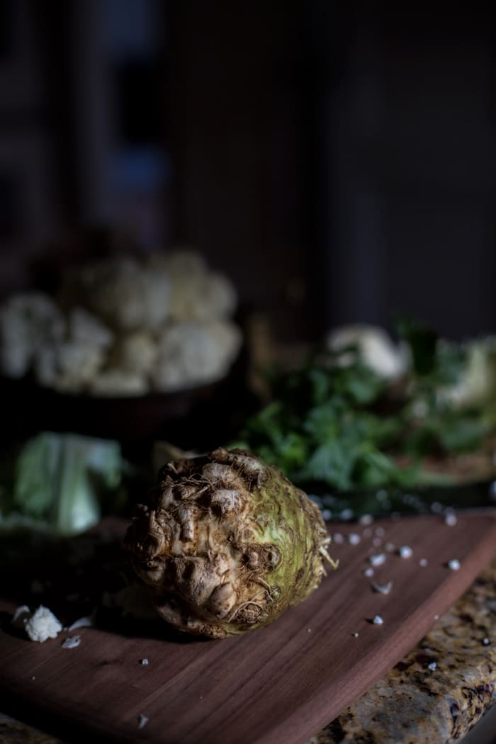 Creamy Cauliflower and Celery Root Soup with Roasted Shiitakes