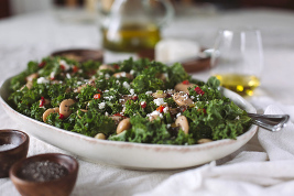Gigante Bean and Kale Salad with Roasted Red Peppers and Feta Cheese