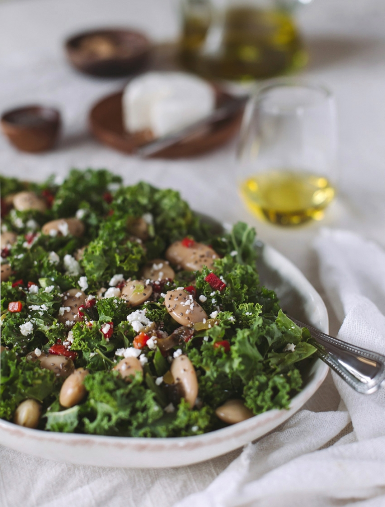 Gigante Bean and Kale Salad with Roasted Red Peppers and Feta Cheese ...