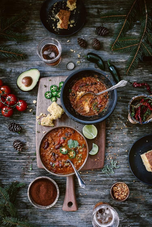 Three Bean Ground Turkey Chili served with Turkey Chili Ingredients