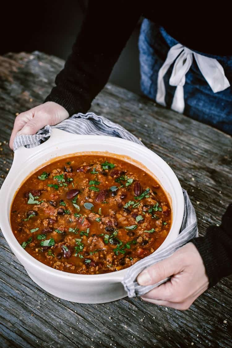 Turkey Bean Chili recipe served in a large bowl