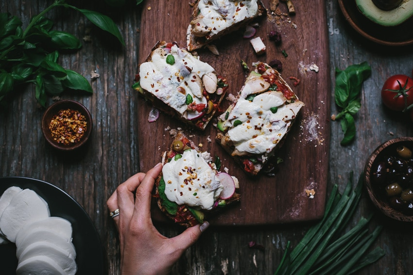 Open-Face Chicken Caprese Sandwich