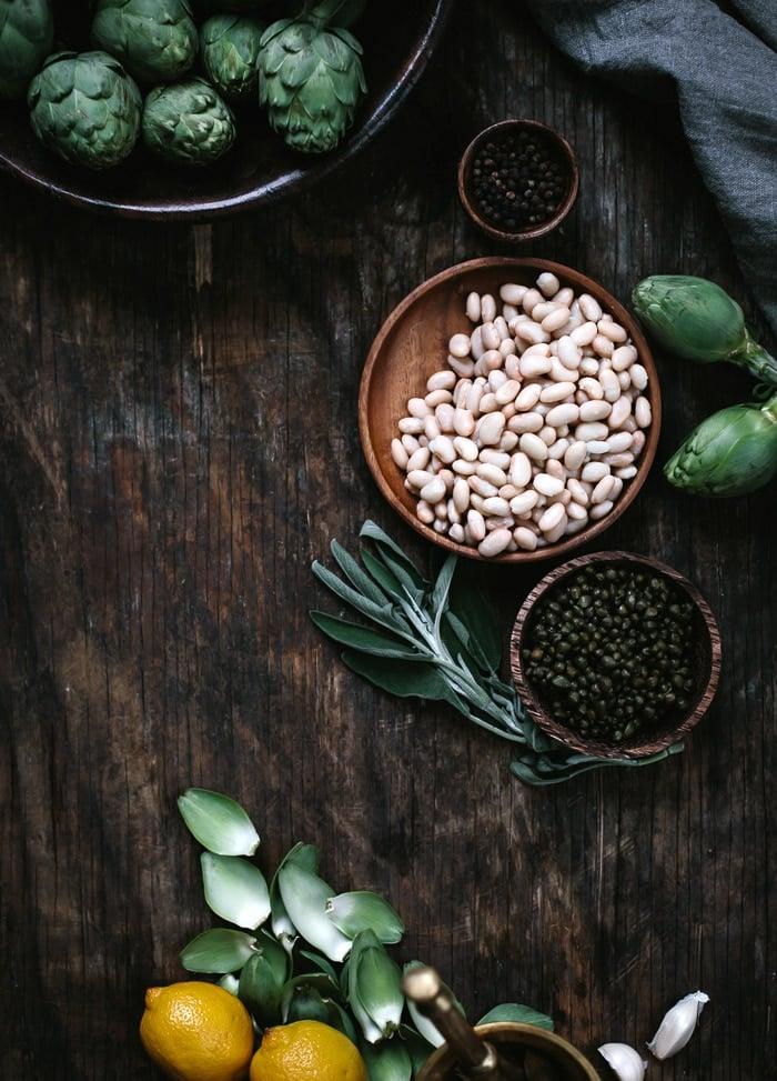 Ingredients for artichoke salad