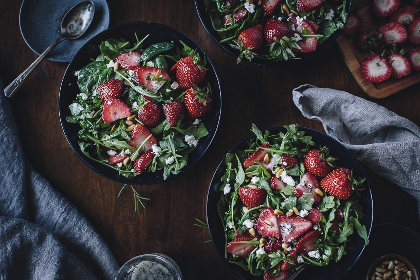 Strawberry, Spinach, and Arugula Salad with Lighter Poppy Seed Dressing