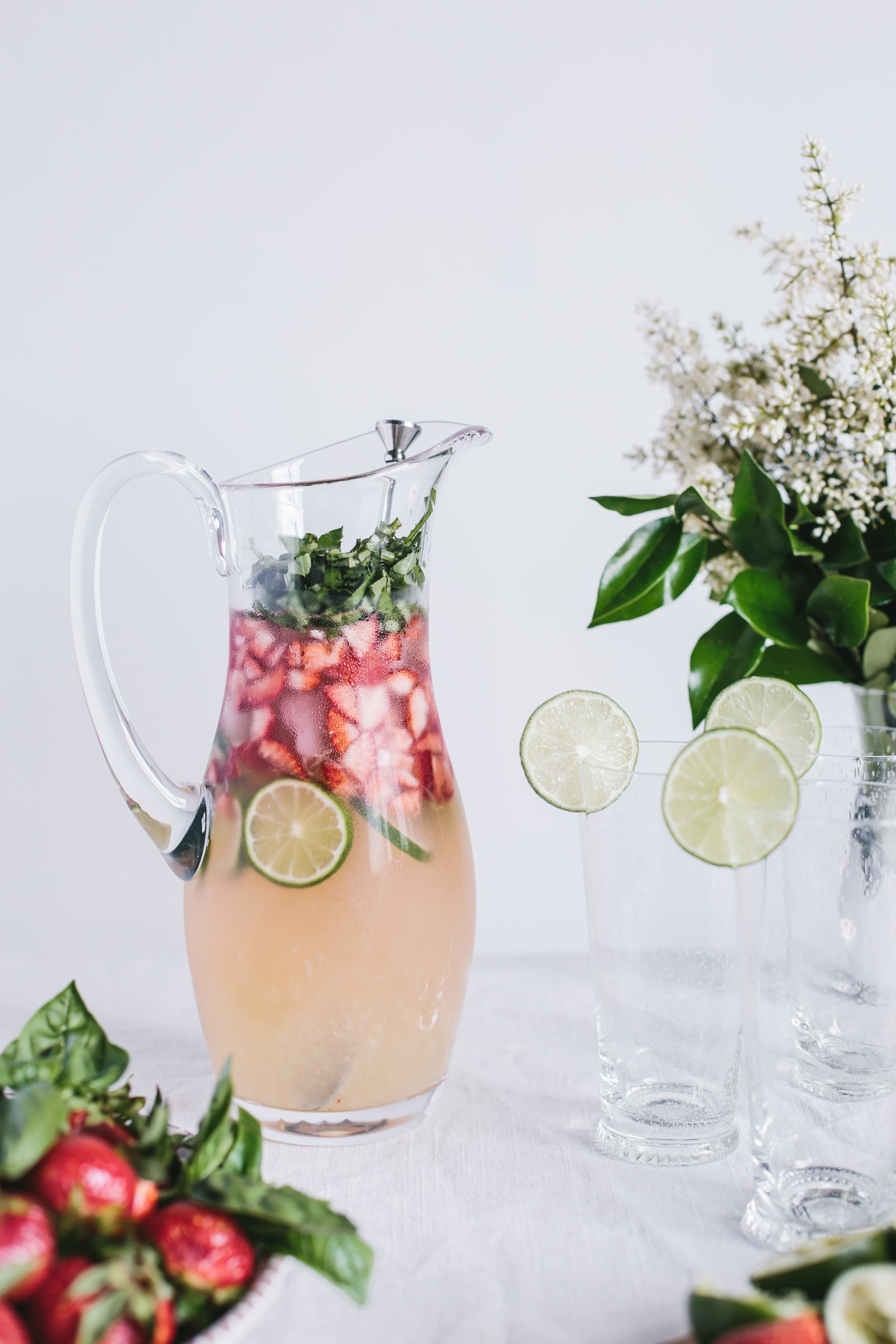 Honey Sweetened Limeade with Strawberries and Basil