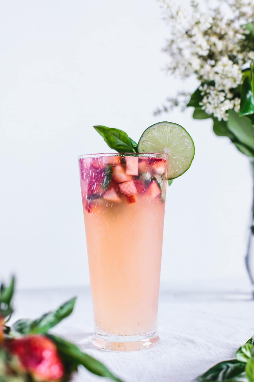 Honey-Sweetened Limeade with Strawberries and Basil