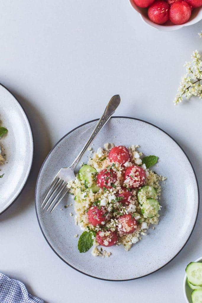 Minted Watermelon Salad with Bulgur