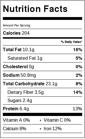 Nutrition Label for quinoa crunch