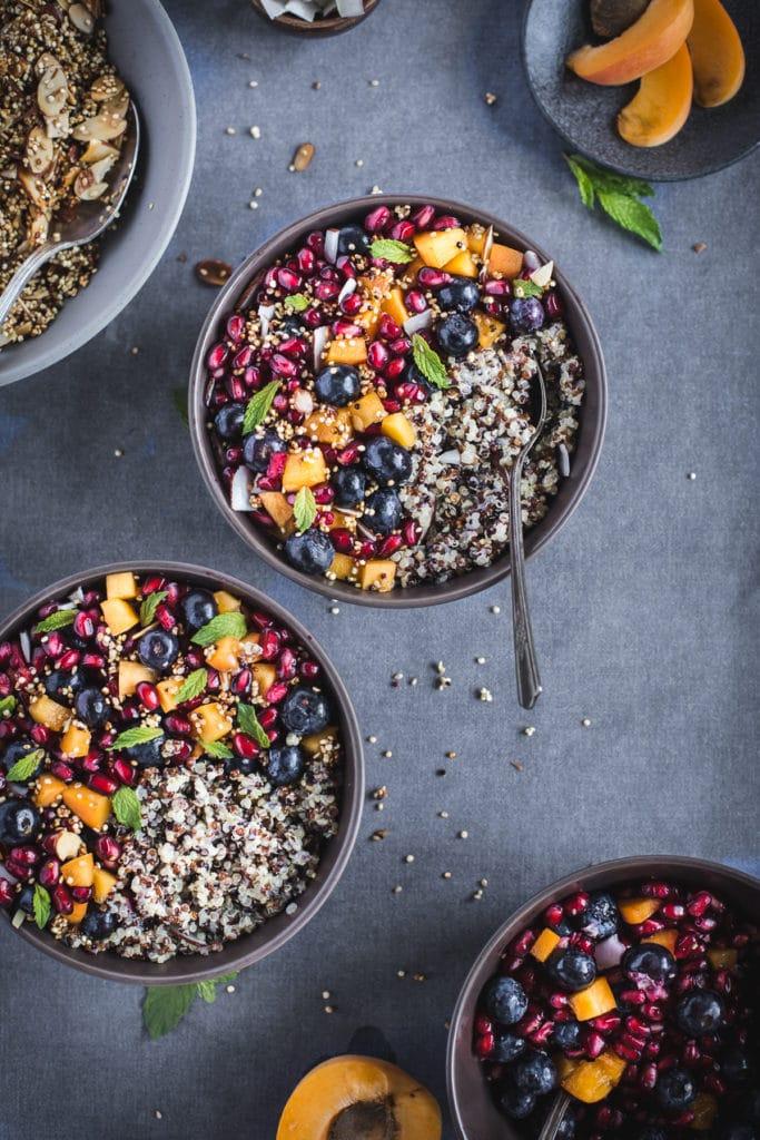 Coconut Quinoa Porridge with Berries and Quinoa Crunch Topping