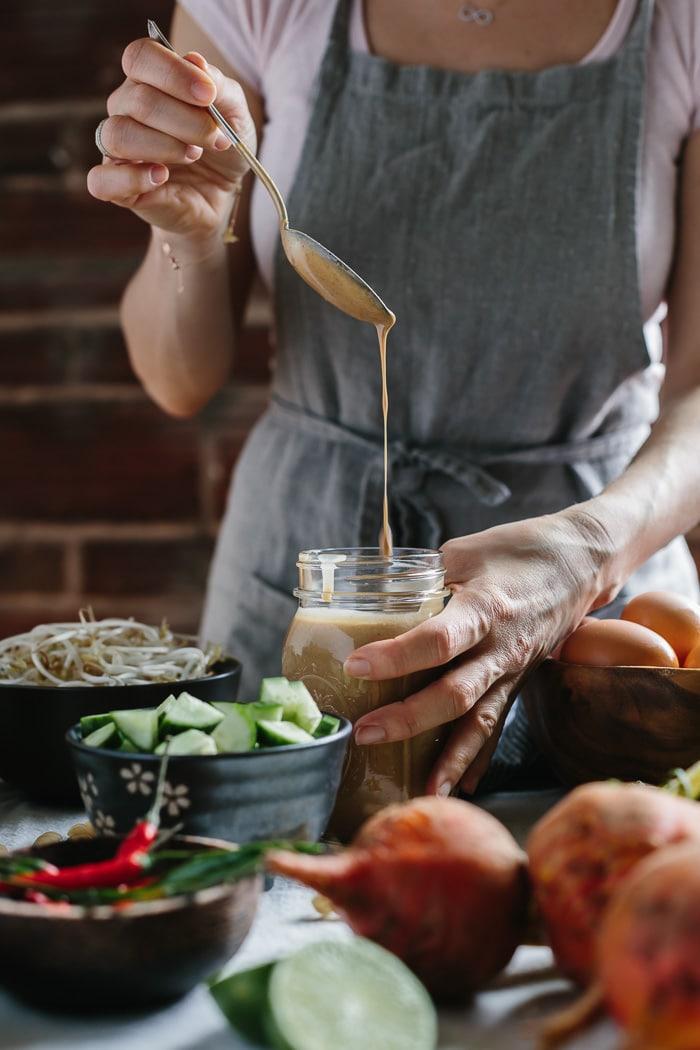 Crunchy Veggie Bowl with Warm Peanut Dressing