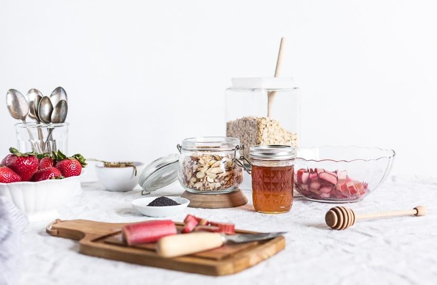 ingredients for healthy rhubarb breakfast