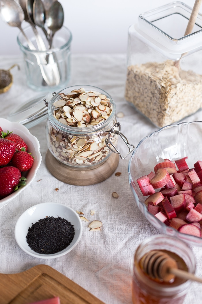 ingredients for the recipe (almonds, oats, and fruit)