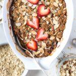 Strawberry and Rhubarb Breakfast Oat Crisp