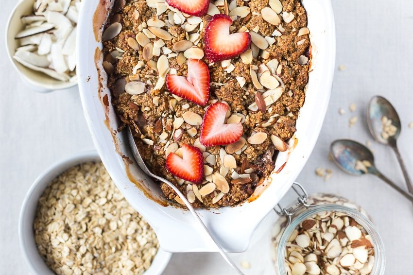 Rhubarb breakfast bake served with add ins on the side