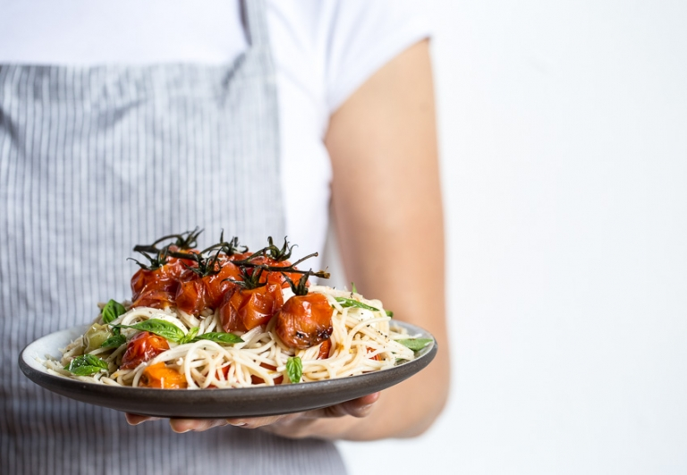 Brown Rice Caprese Spaghettii
