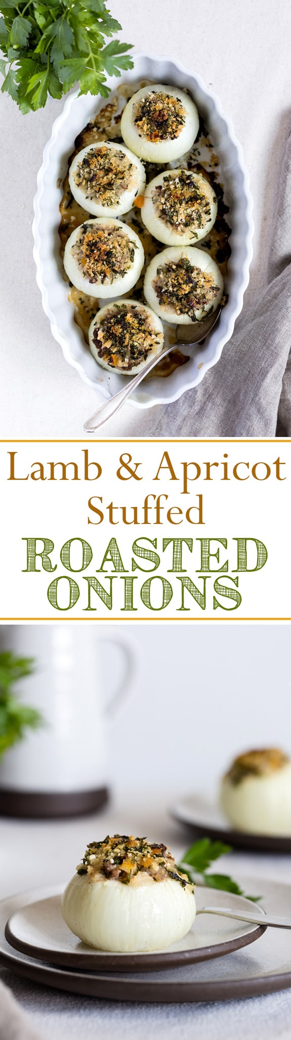 Lamb and Apricot Stuffed Roasted Onions - Vidalia Onions filled with lamb and apricot and baked in the oven. Great dinner recipe to make with fresh onions.