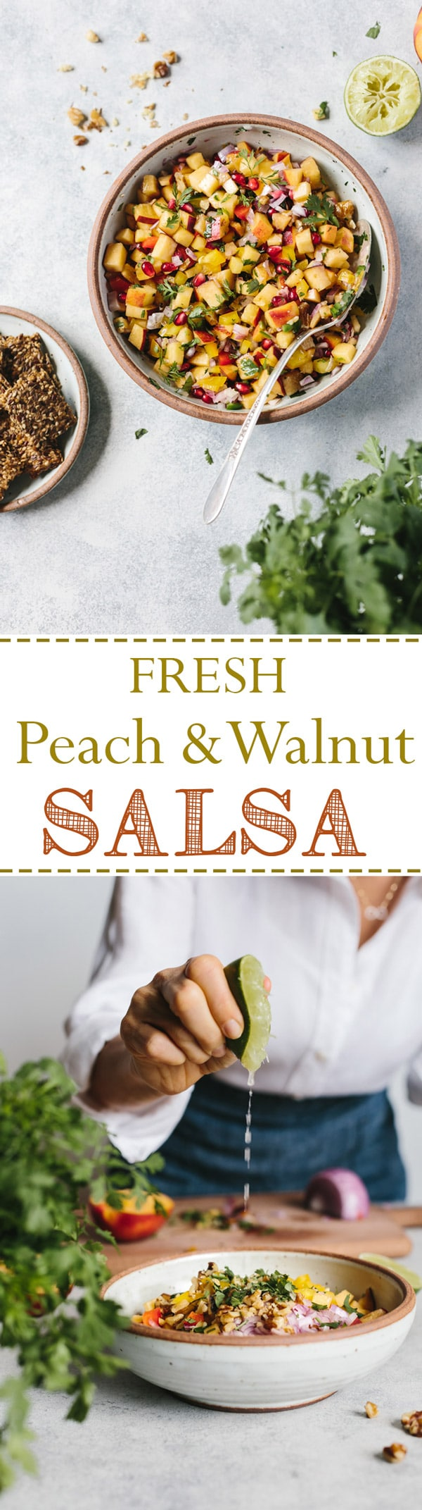 Fresh Peach and Walnut Salsa - A refreshing and flavorful summer salsa made with fresh peaches and walnuts. Serve over fish, in tacos, or by itself with crackers. GF+VEGAN