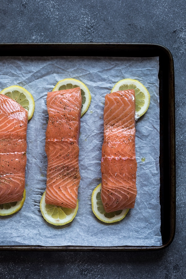 Three pieces of raw Salmon prep for seafood dinner