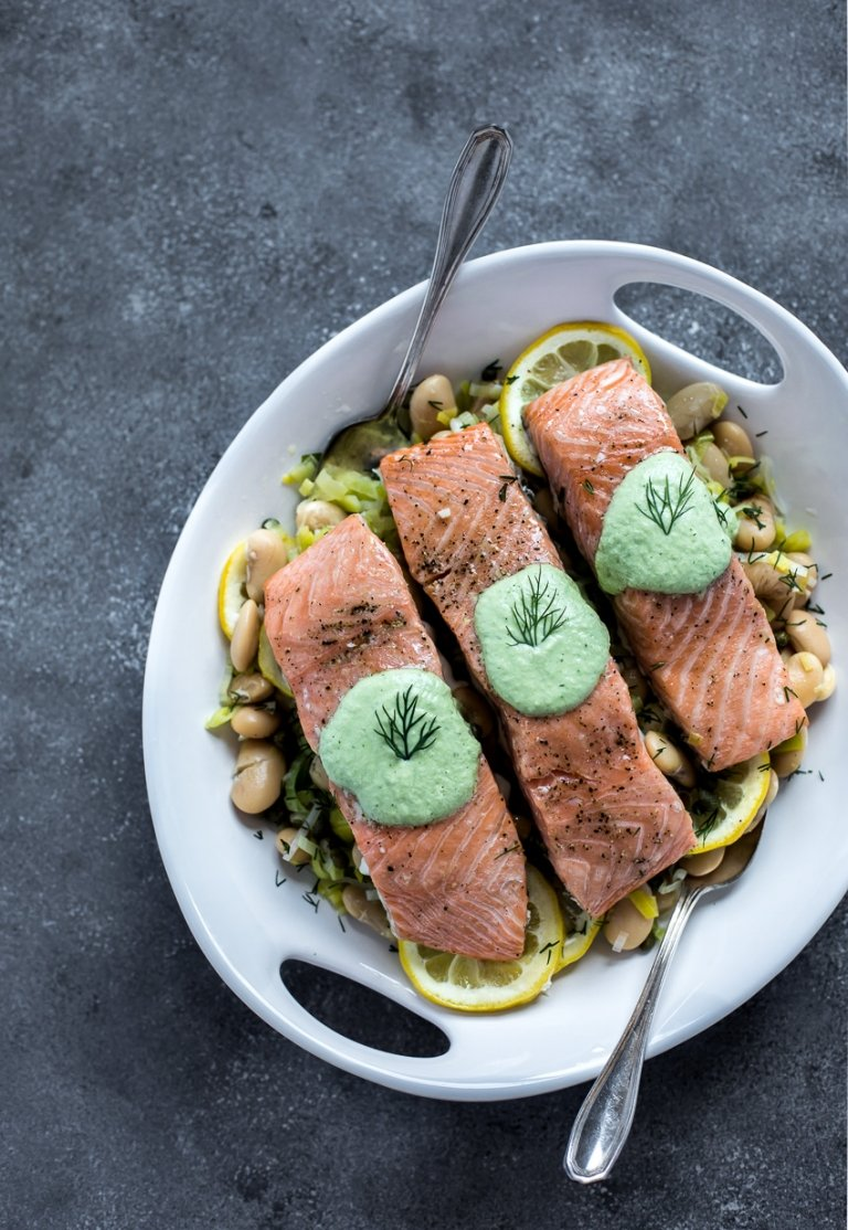 Slow-Baked Salmon with Butter Beans - FoolproofLiving