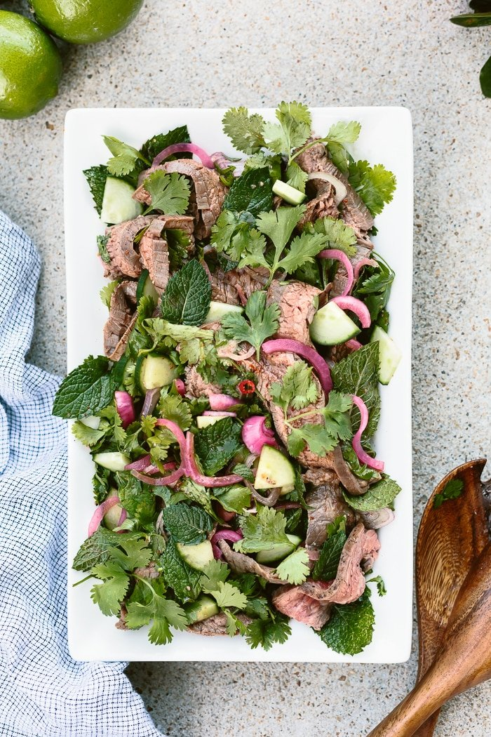 Recipe for Thai Grilled Beef and Herb Salad : Beef marinated in Thai dressing and flavored with herbs.