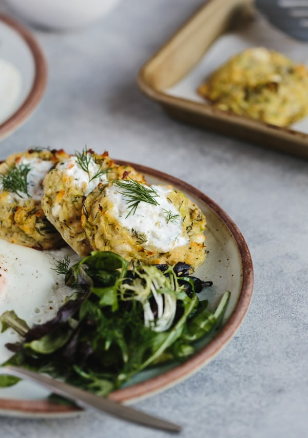 Oven-Baked Zucchini Fritters with Feta and Dill - Foolproof Living