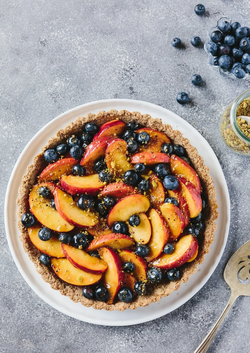 Fresh Peach and Blueberry Tart with Walnut Crust