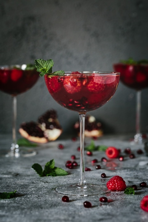 Raspberry and Pomegranate Rosé Summer Cocktail