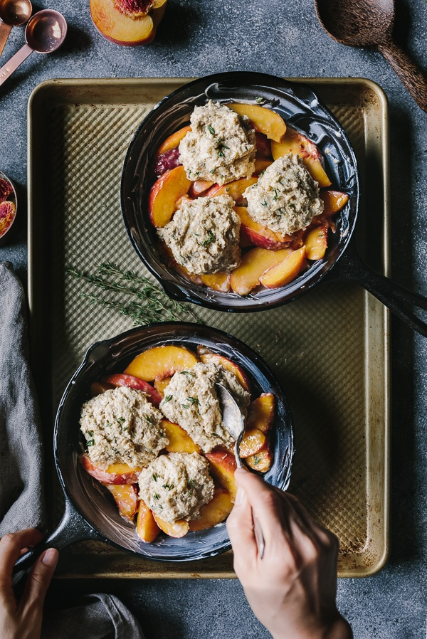 unbaked Peach Cobbler with Cornmeal Thyme Biscuits from the top