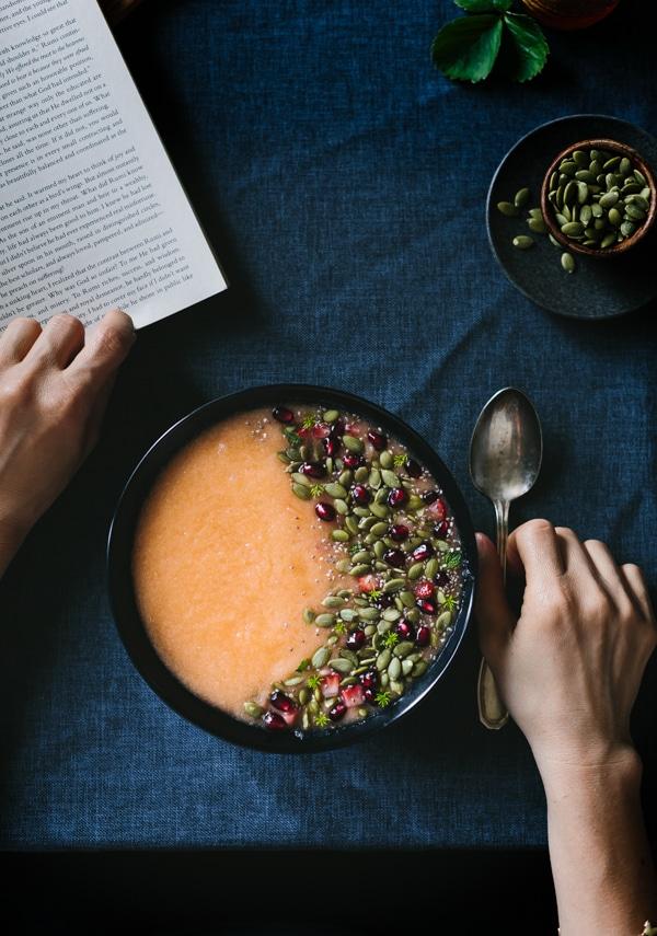 Citrusy Cantaloupe Smoothie Bowl with Pepitas