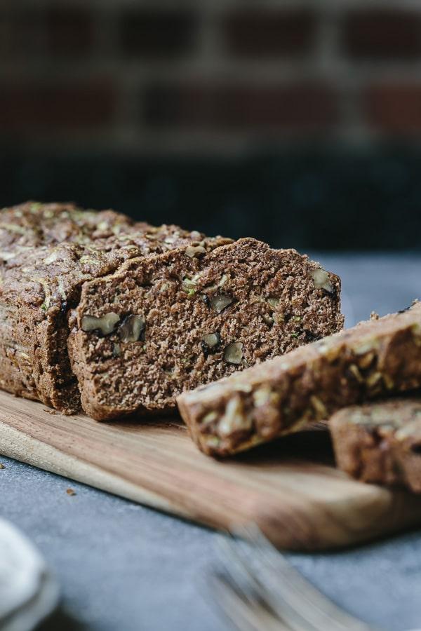 A sliced healthy Zucchini Bread Recipe - no sugar and no eggs
