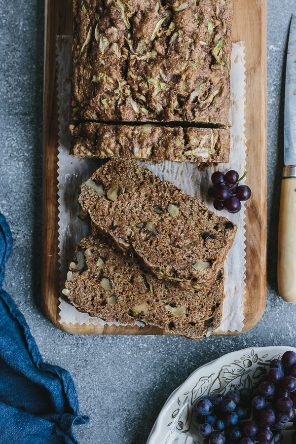 A sliced Vegan Zucchini Bread - No refined sugar healthy zucchini bread recipe