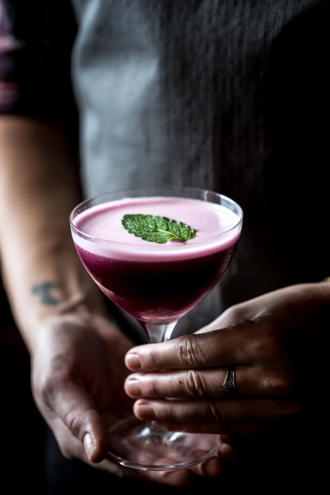 Blueberry, Dark Cherry and Calvados Cocktail