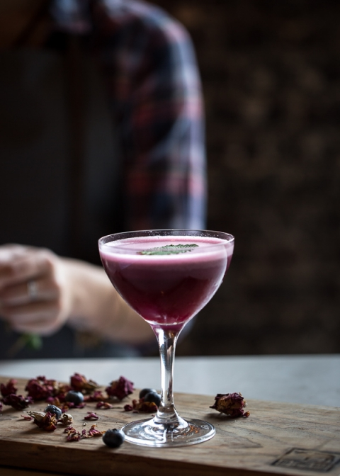 Blueberry, Dark Cherry, and Calvados Cocktail