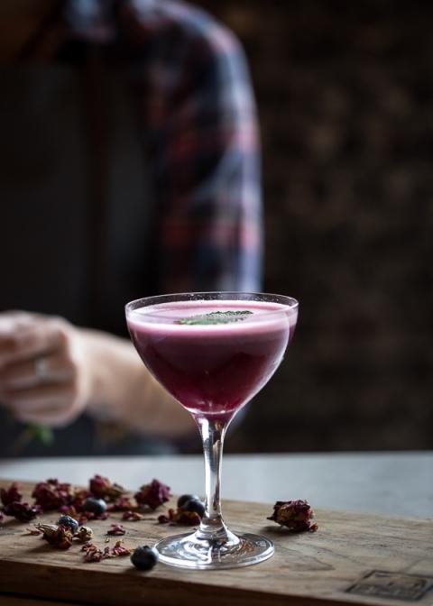 Blueberry, Dark Cherry, and Calvados Cocktail
