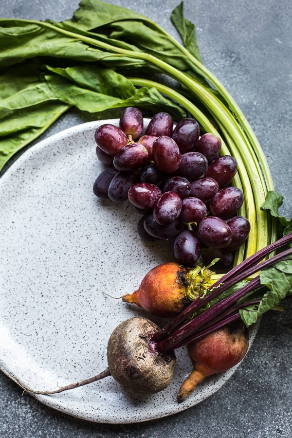 Grapes and beets on a plate