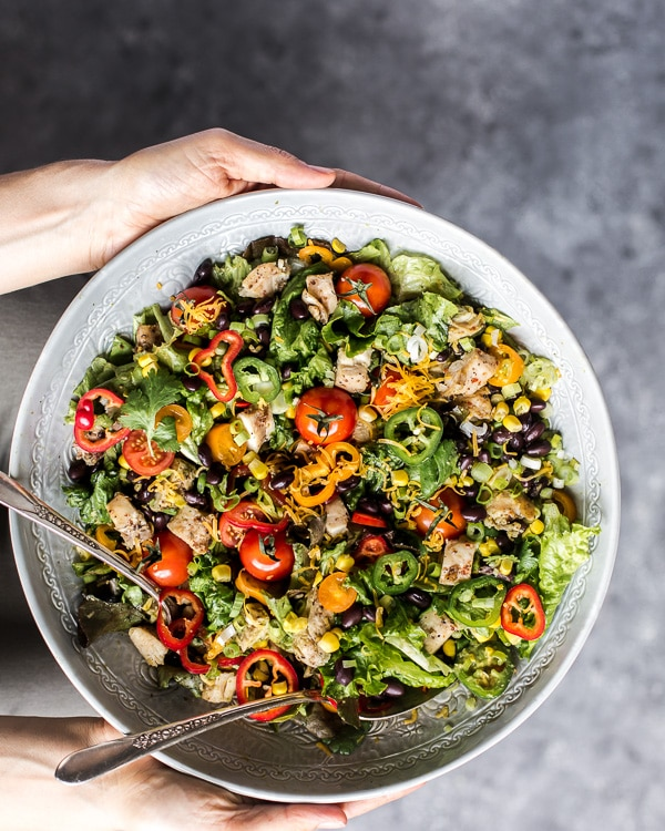 Southwestern Chicken Salad with Creamy Avocado Dressing
