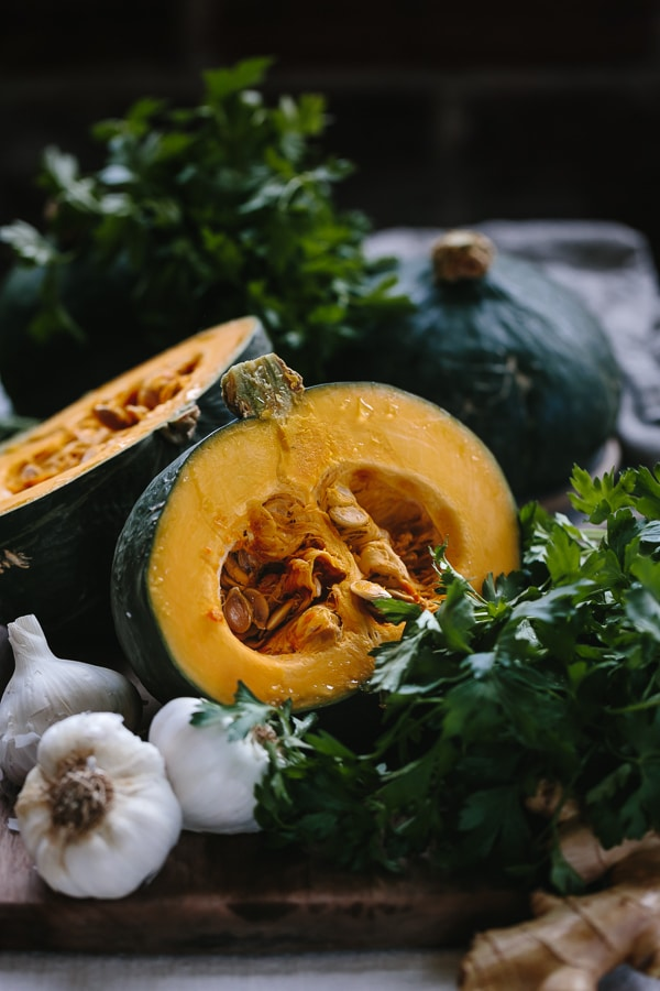 Sliced Kabocha squash with parsley and garlic